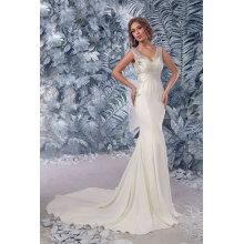 Sheath/Column Chiffon Court Train Full Wedding Dresses