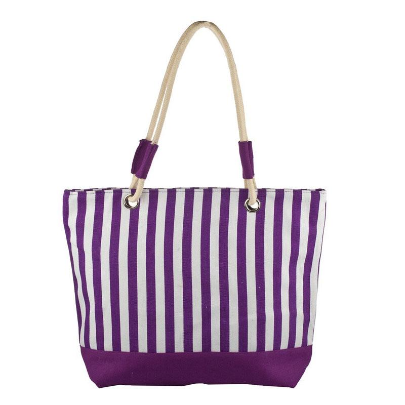 Purple Stripes Beach Bag