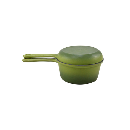Green Enamel Cast Iron Cooking Saucepan