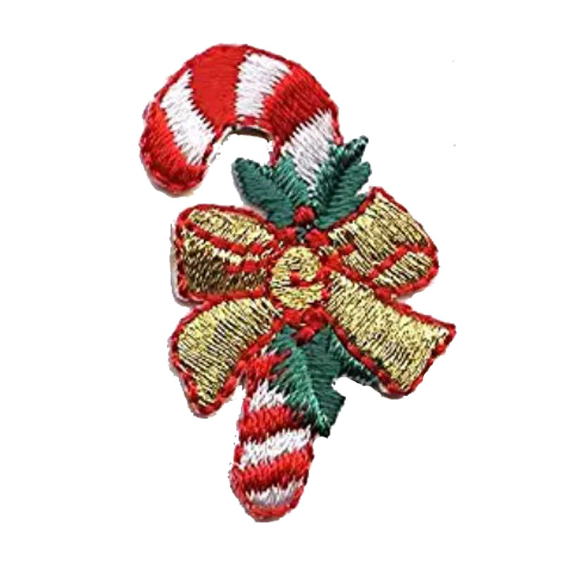 Christmas Candy Cane Iron On Embroidered Patch