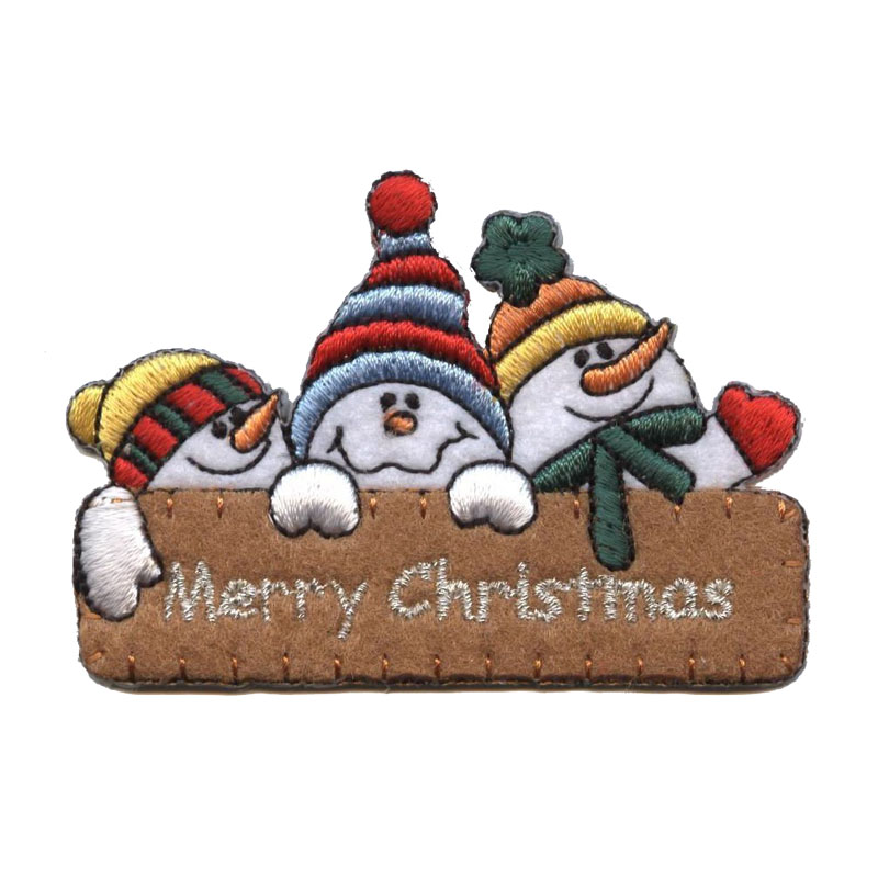 Merry Christmas With Snowman Iron On Embroidered Patch