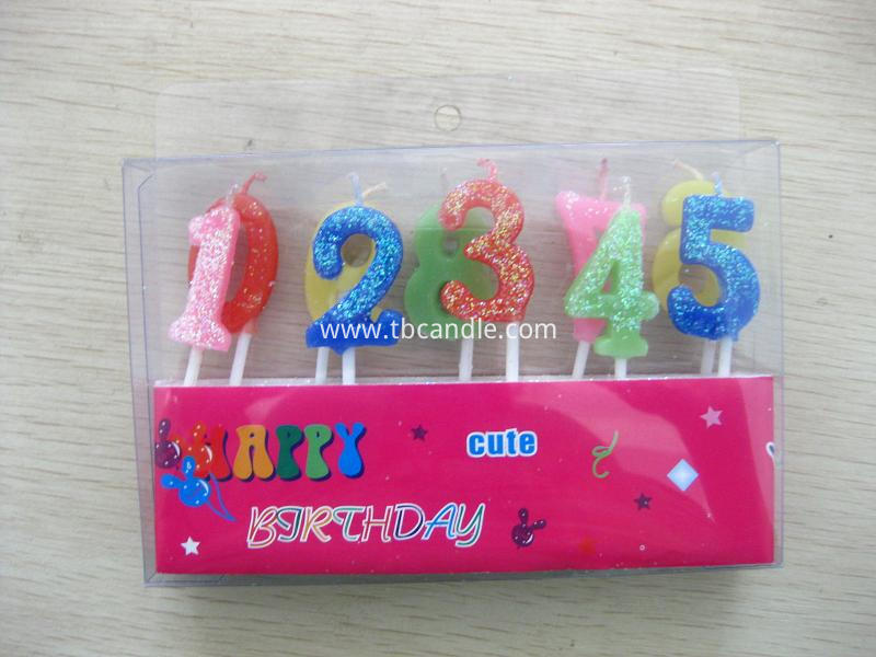 0-9 number candle with glitter powder
