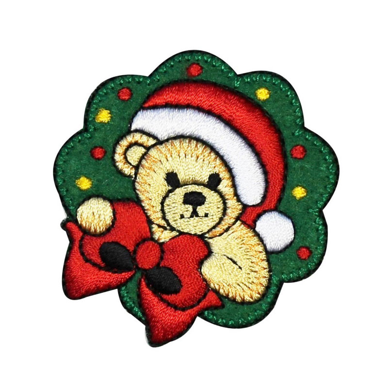 Santa Teddy Bear Christmas Wreath Embroidered Patch