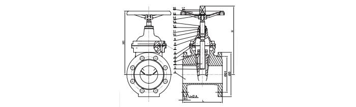 f4 f5 gate valve drawing