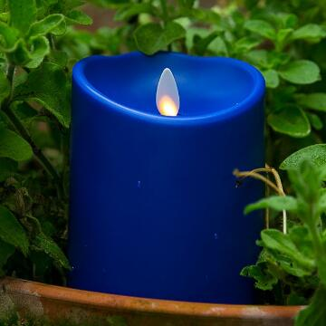 blue plastic luminara candle