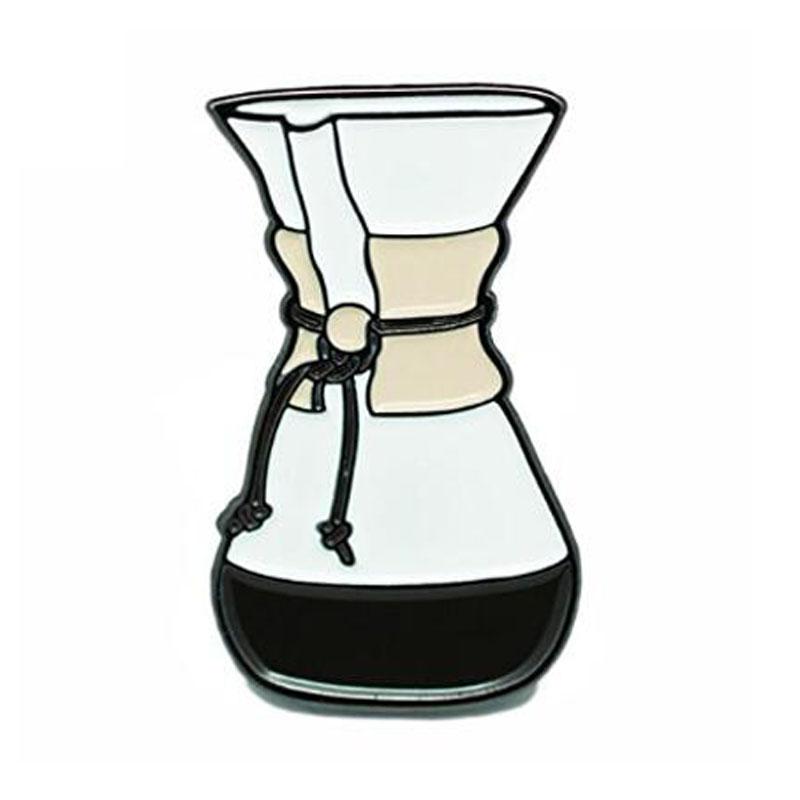 Glass Coffee Maker Soft Enamel Lapel Pin