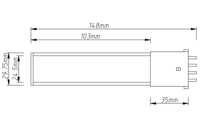 PL-2G7-6W 2G7 LED Tube Light PL Light size