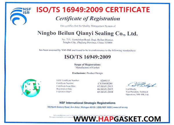 Iso Ts 16949 Certificate