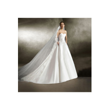 A-Line/Princess Satin Chapel Train Wedding Dresses without Sleeves