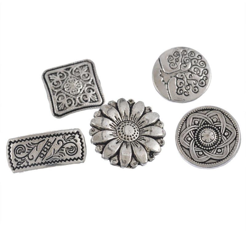 Mixed Silver Flower Button