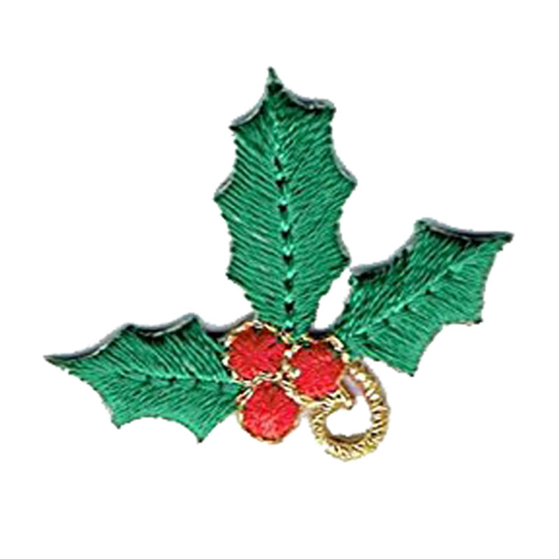 Holly With Red Berries Iron On Embroidered Applique Patch