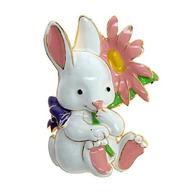 Bunny Enameled Metal Brooch