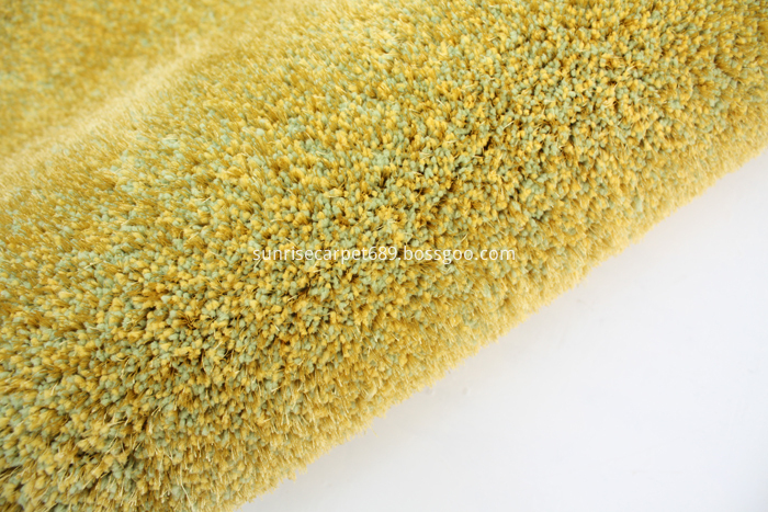 Microfiber and 150D Shagy Home Rug Carpet green & yellow