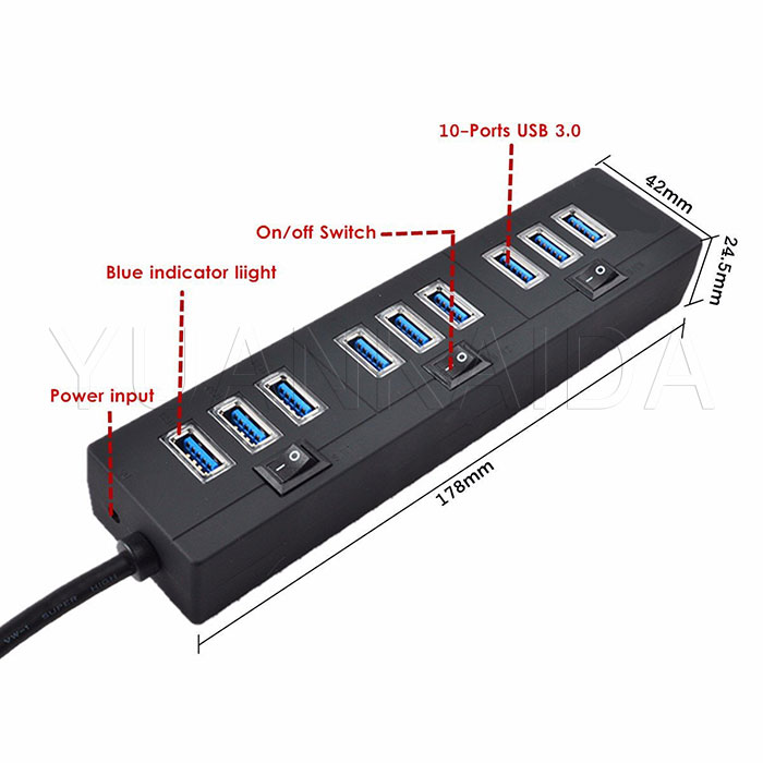 10 Port Superspeed Usb 3 0 Hub