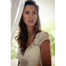 A-Line/Princess V-Neck Floor Length Chiffon Garden Wedding Dress with Lace