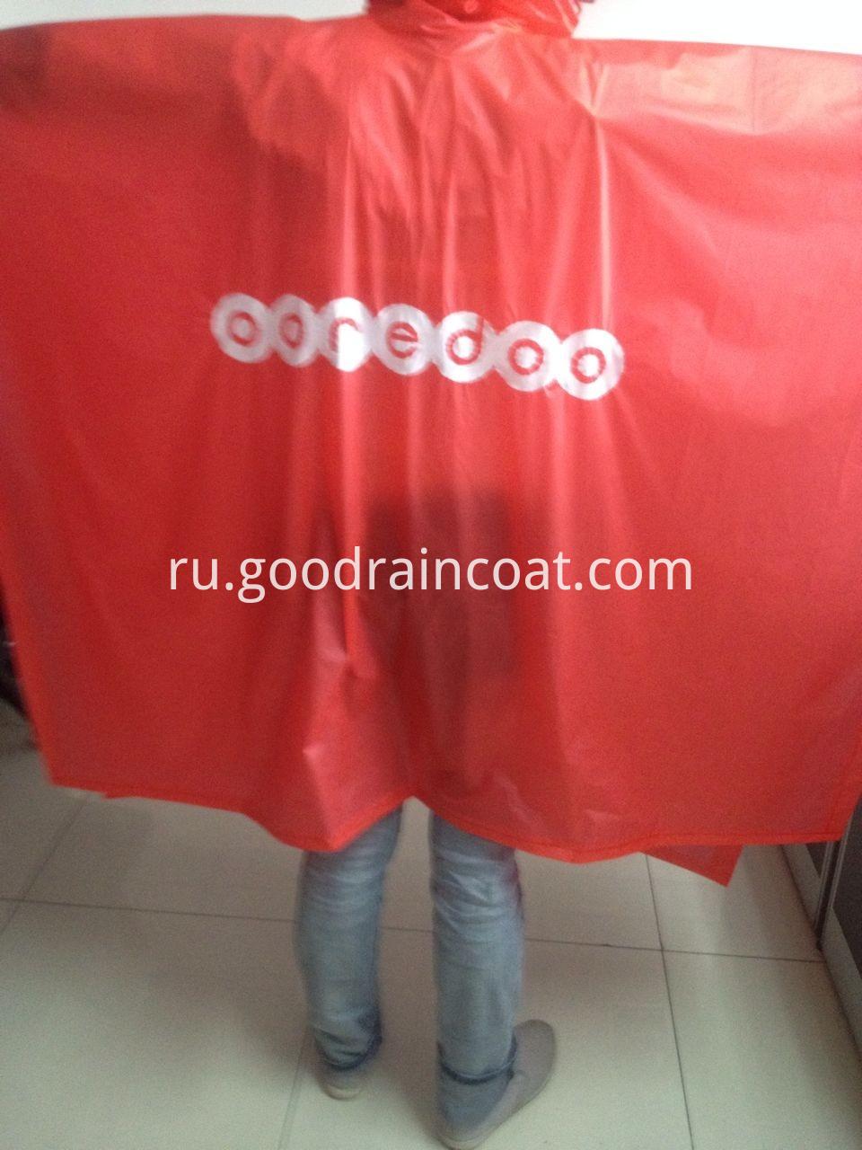 red logo print pvc rainponcho