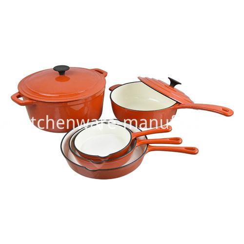 8pcs Enamel Cast-Iron Cookware Set