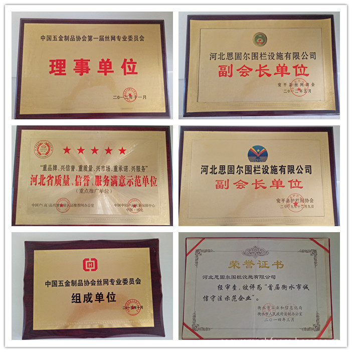 hebei secure-nett fence win other hornors of certificate
