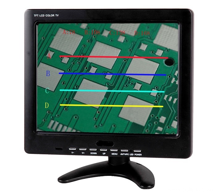 10 inch four horizontal lines monitor