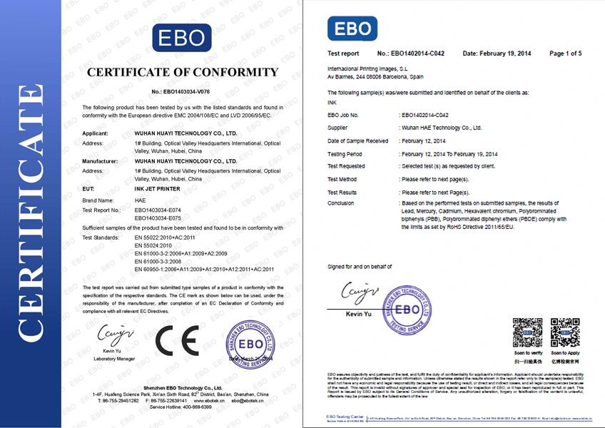 Inkjet coder certificate
