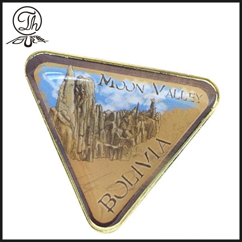 Triangle shape metal badge