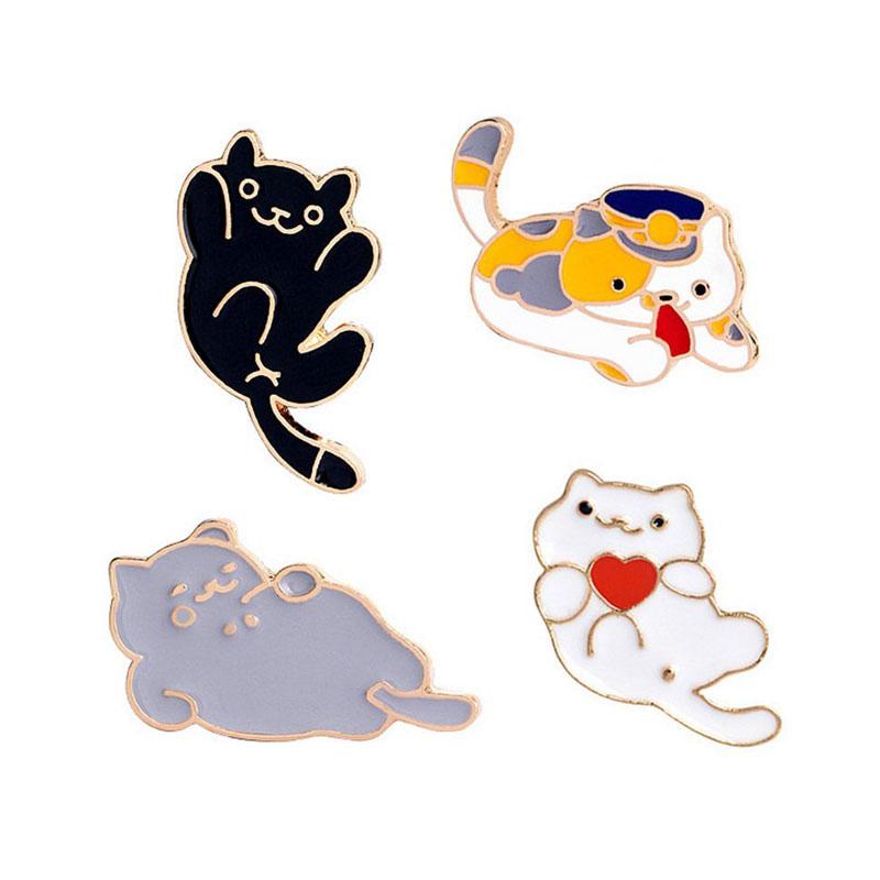 Cute Cartoon Cats Enamel Brooch Pin