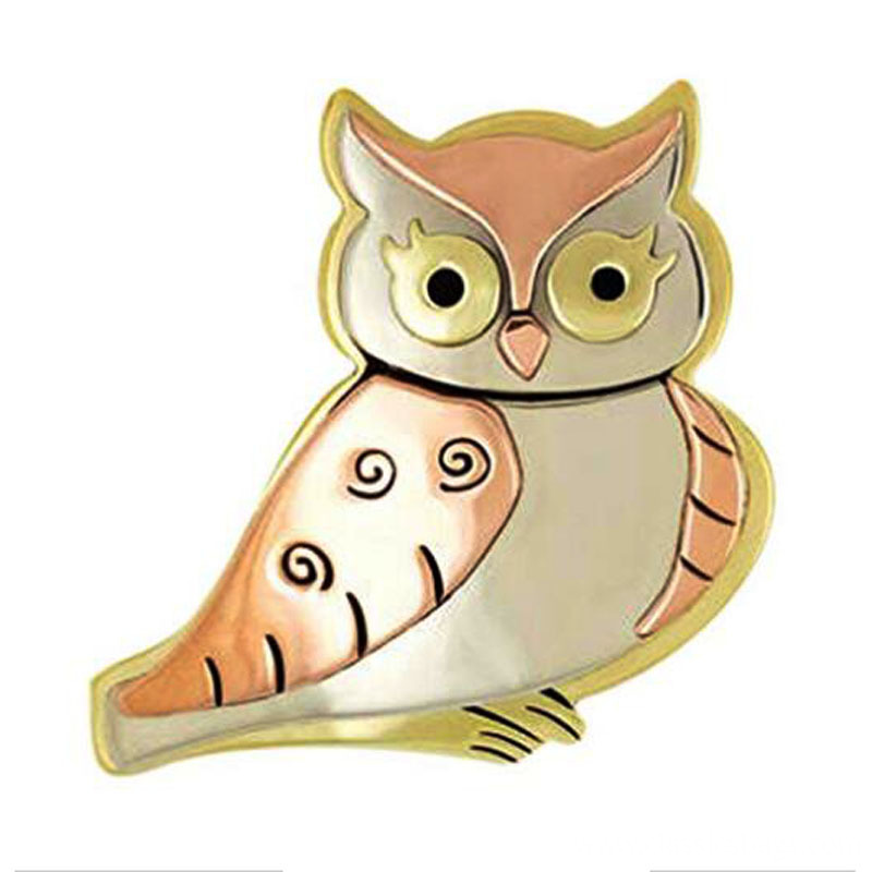 Blinky The Owl Pin Mixed Metals Brooch