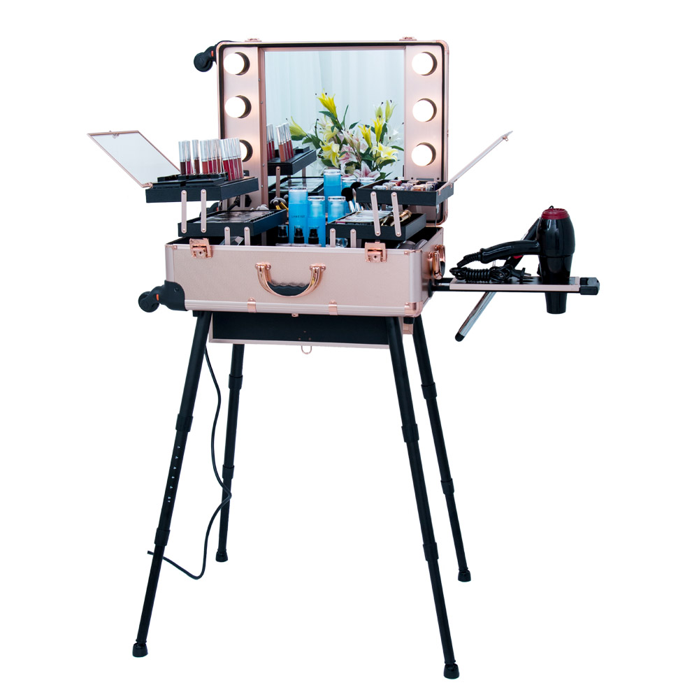Trolley Makeup Case with Mirror