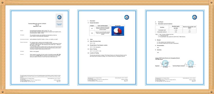 enamel casserole certification