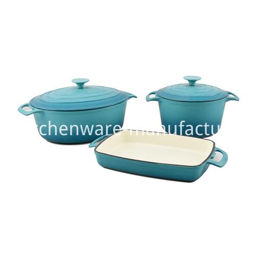 9 Pieces Blue Enamel Cast Iron Cookware set