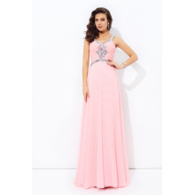 A-Line/Princess Chiffon Floor Length Peach Chiffon Bridesmaid Dress