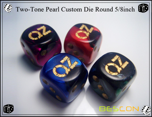 Two-Tone Pearl Custom Die Round 5 8inch