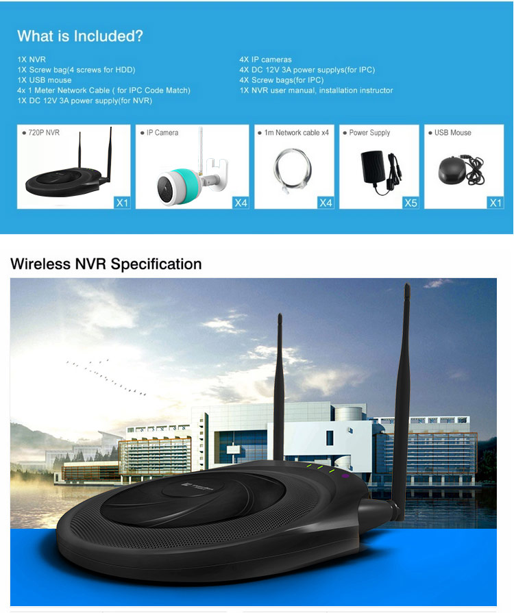 720P Wireless NVR Kit