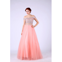 A-Line/Princess Tulle Floor Length Light Pink Prom Dresses