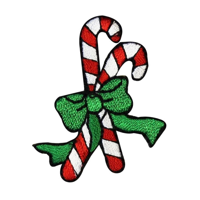 Candy Cane Pair Christmas Decoration Embroidered Patch
