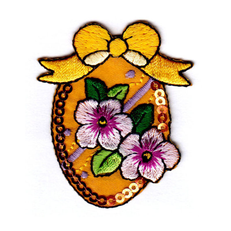 Easter Egg Wflowers Sequins Patch