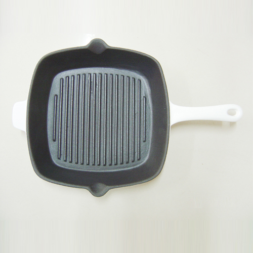 white cast iron grill pan