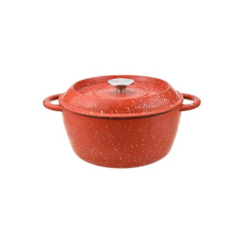 Red Enamel Cast Iron Round Casserole Pot