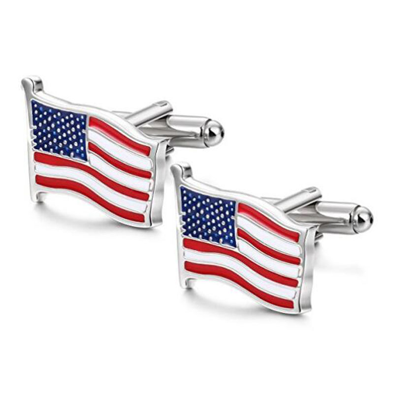 USA Flag Silver Cuff Links