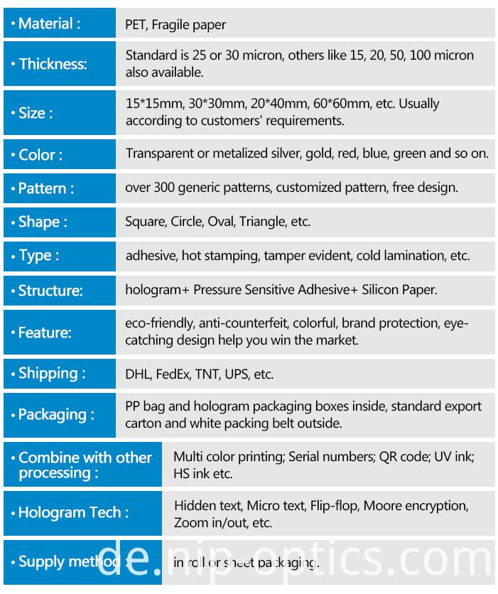 Specification of Hologram Sticker