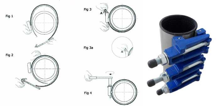 ss repair clamp with DI band