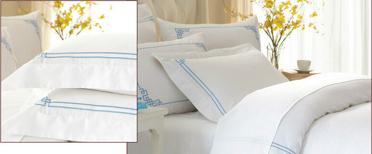 Blue Embroidery Bed Linen