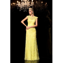 Sheath/Column Lace Floor Length Gold and Champagne Bridesmaid Dresses