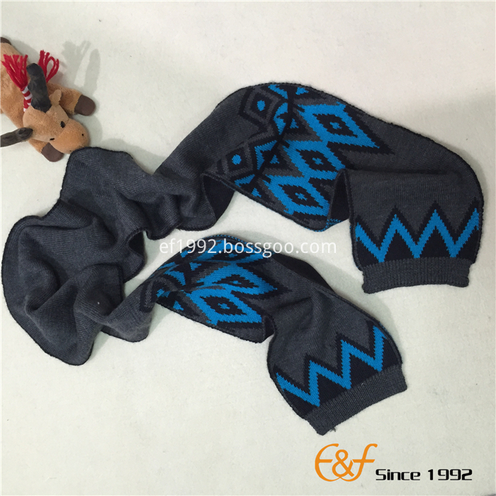 jacquard winter boy's hat scarf set