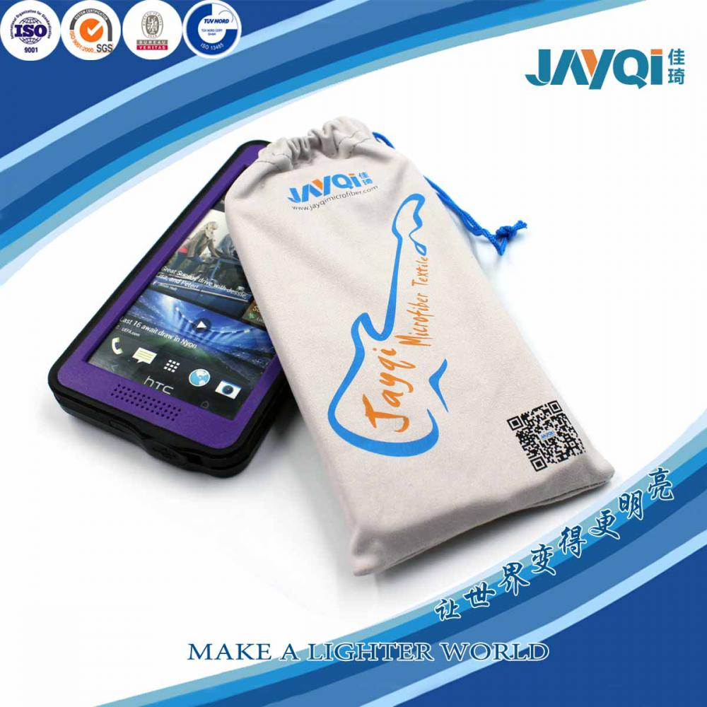 Microfiber Cloth Mobile Phone Bag with Screen Printed