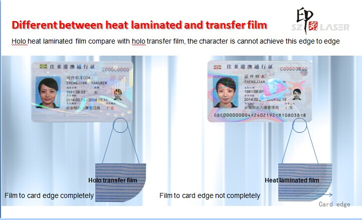 difference of hologram transfer ribbon and hologram laminated overlay