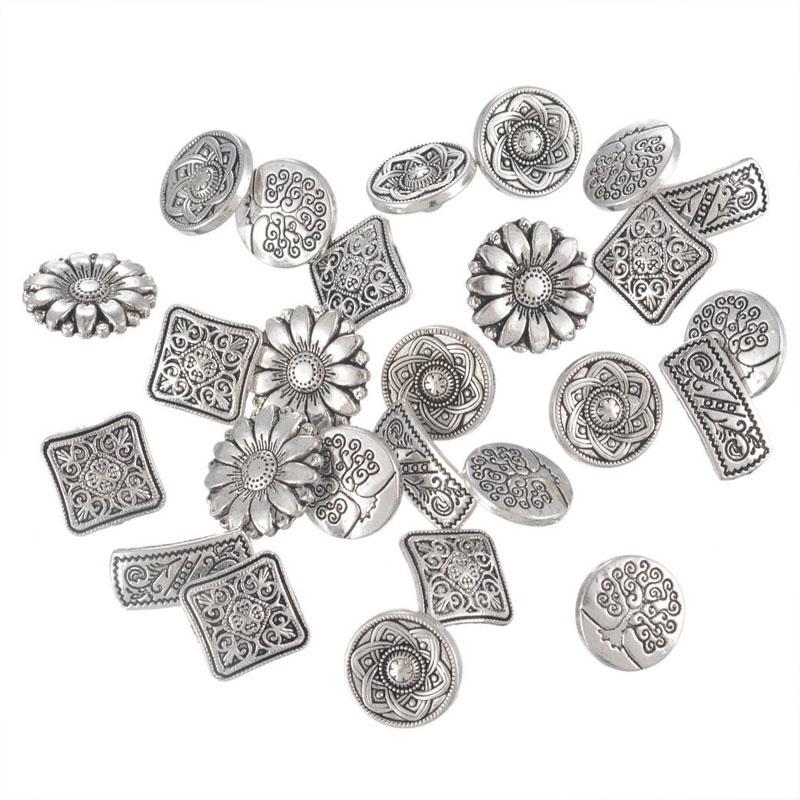 Mixed Silver Flower Buttons