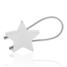 Silver Tone Dual Flat Split Rings Double Five Pointed Stars Metal Key Chain