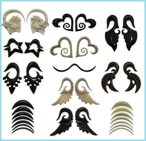 Black Acrylic Spiral Ear Gauges Punk EarringS