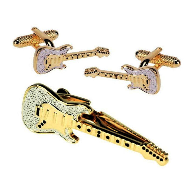 Guitar Tie Bar And Cufflinks Set